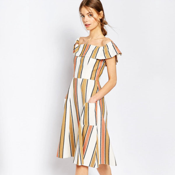 ASOS Off Shoulder Stripe Sundress in Natural Fibre