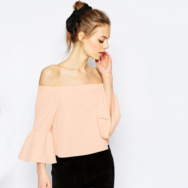 Off The Shoulder Top With Ruffle Sleevev2