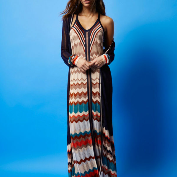 RI Studio beige zig zag knit maxi dress