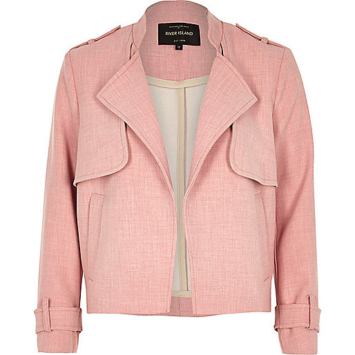 River Island Pink Cropped Trench