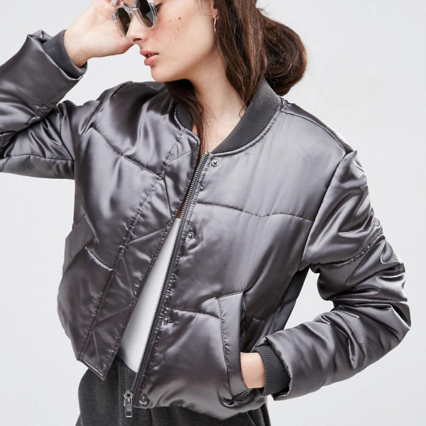 Asos Cropped Padded Bomber Jacket