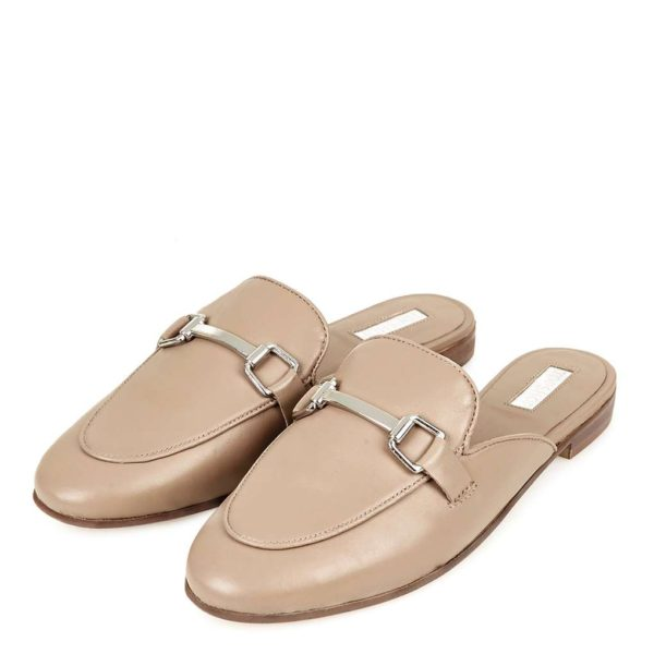 Nude Topshop Backless Loafers Snaffle Buckle Detail