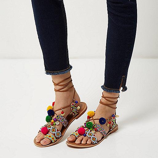 River Island Pom Pom Sandals