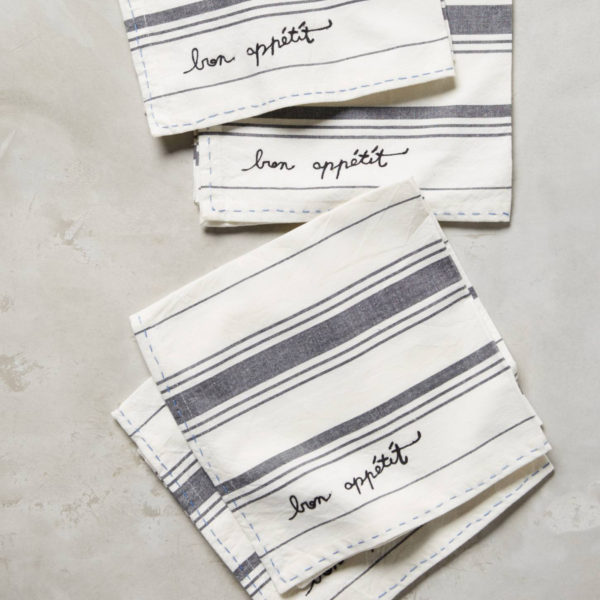 Stripe Embroidered Napkins