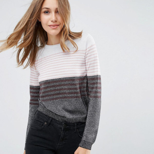 Asos metallic stripe knit jumper