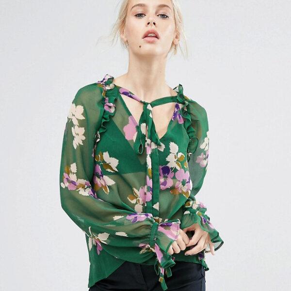 Asos Floral Ruffle Blouse