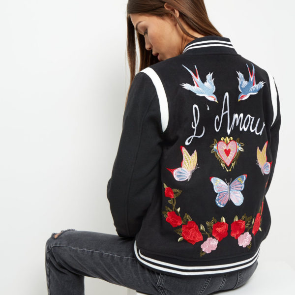 New Look Embroidered Bomber Jacket