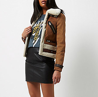 River Island shearling aviator