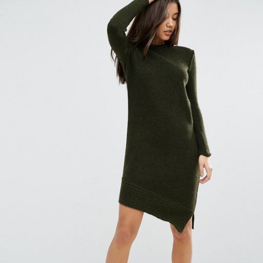 Asos khaki knitted dress
