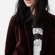 Red velvet jacket Mango