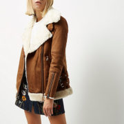 tan shearling aviator jacket river island