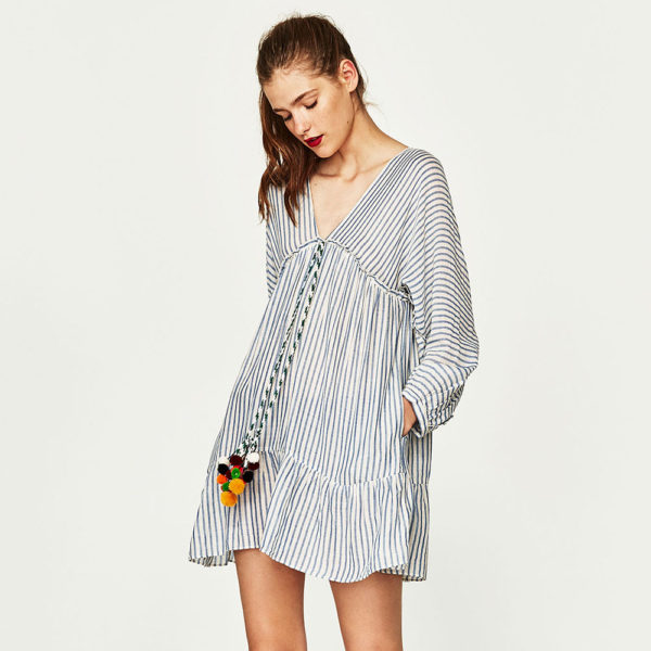 Stripe pom pom dress