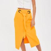 Topshop Eyelet Wrap Midi Skirt