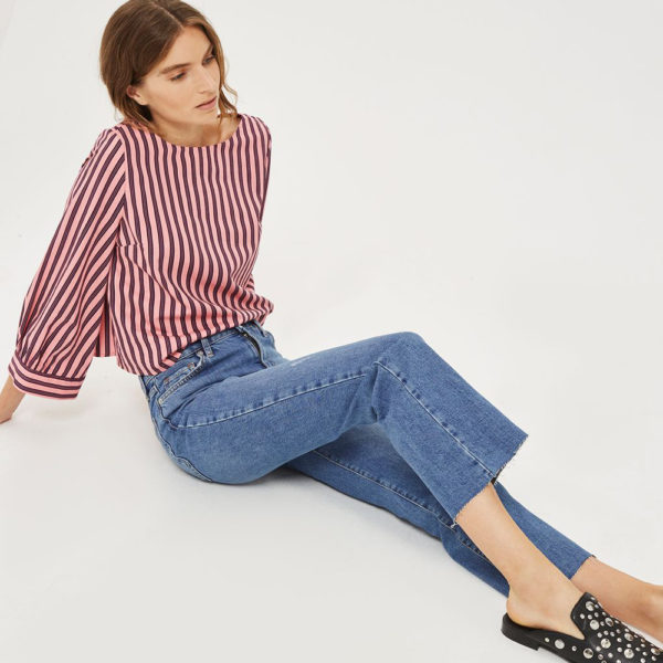 Topshop Dree cropped kick flare jeans
