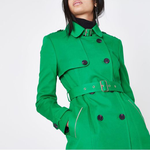 River Island Bright Green Trench Coat