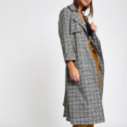 River Island check trench coat