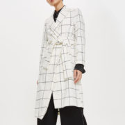Topshop white check coat