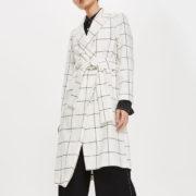 Topshop white check coat