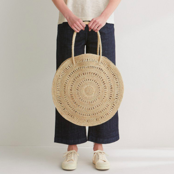 Toast large circle raffia bag