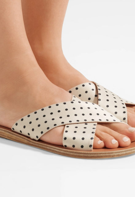 polka-dot matte-satin slides