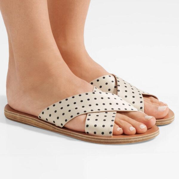 polka-dot matte-satin slides