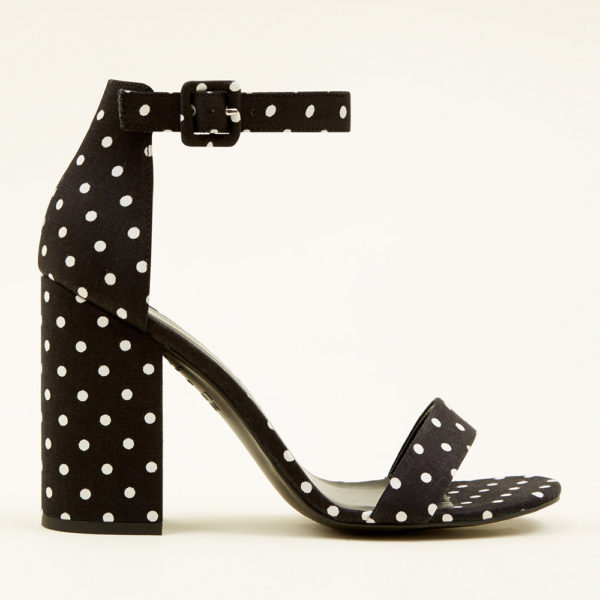 Polka Dot Block Heel Sandals
