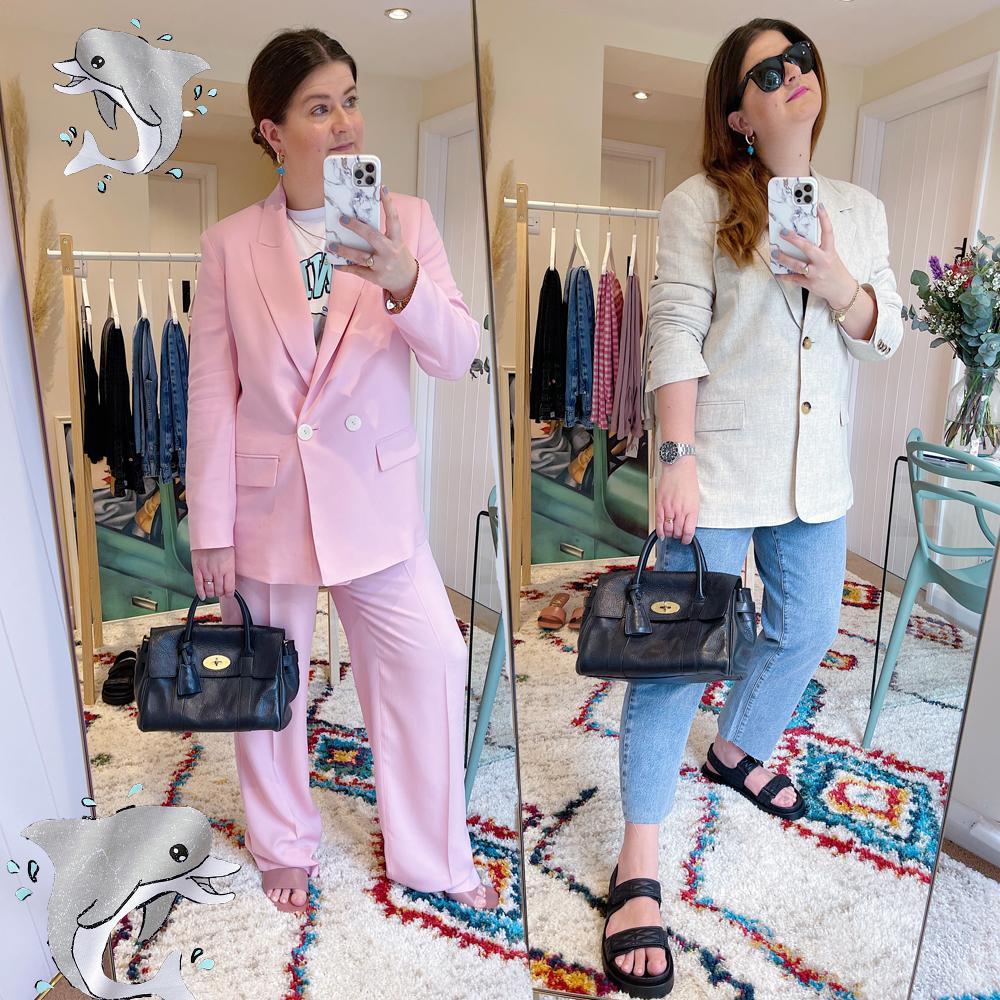 Pink_suit_ganni_tshirt_linen_jacket_jeans