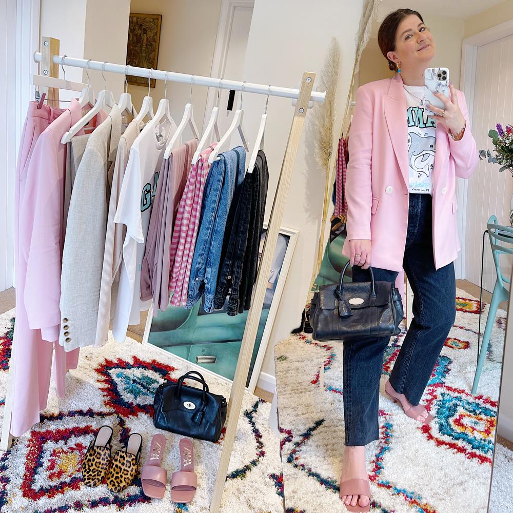 Fashion outfit includes a pink Zara blazer, organic cotton Ganni t-shirt, black Zara hi-rise straight leg jeans, Zara padded mules and a black Bayswater Mulberry handbag