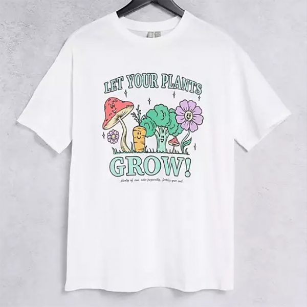White t-shirt with graphic plant and flowers print