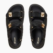 Chunky two strap sandals with gold buckle