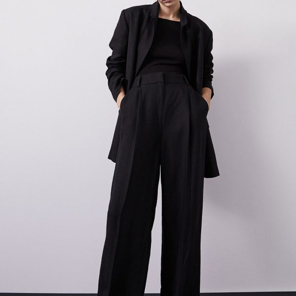 H&M black linen blend blazer and loose trousers