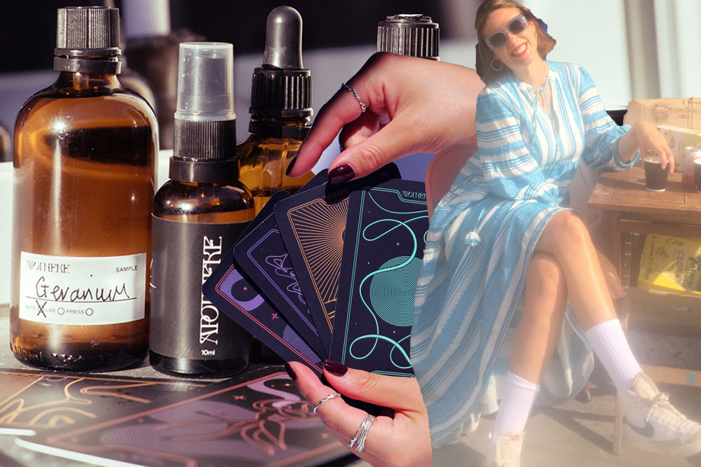 Blue printed dress, trainers and Apotheke perfume bottles