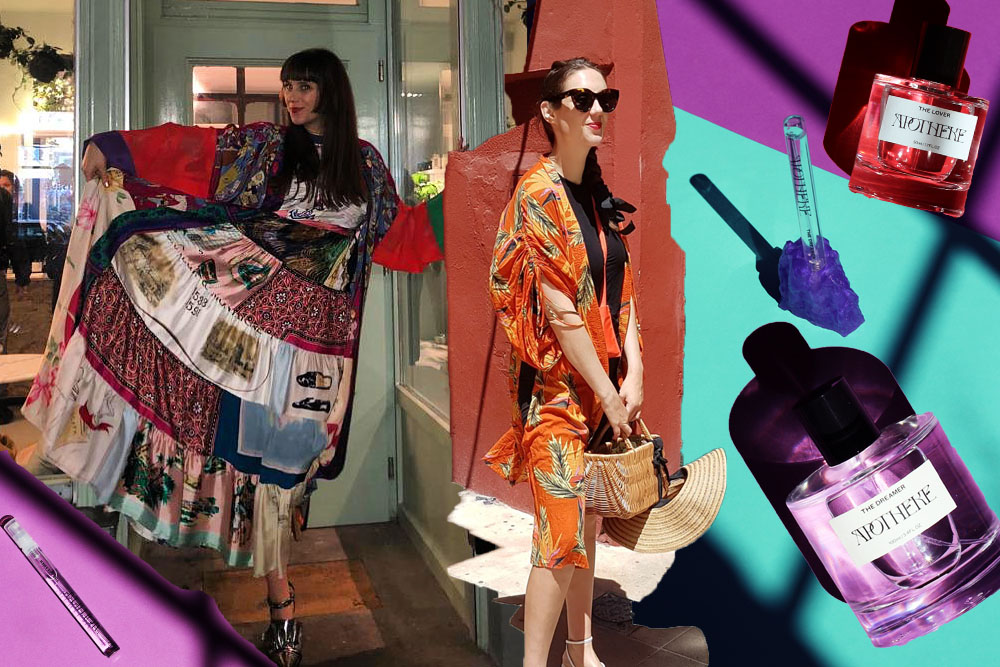 Colourful dresses and purple perfume bottle apotheke