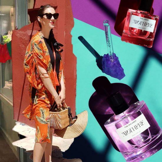 Printed dress, basket and Apotheke perfume bottles