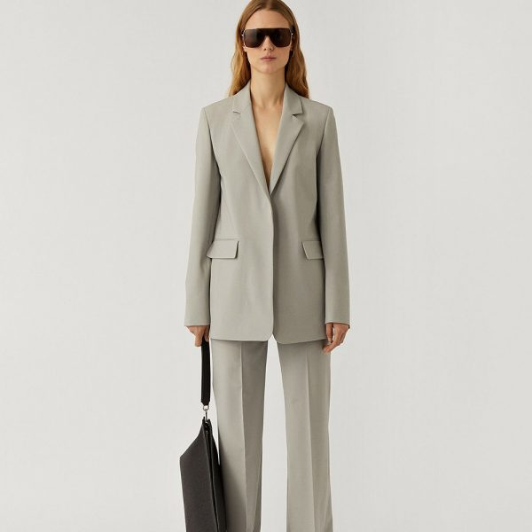 Joseph Joan Jacket and Trousers suit with sunglasses and bag