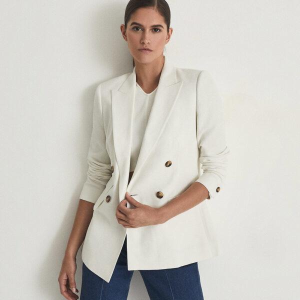 Reiss white linen blazer, jeans and a t-shirt