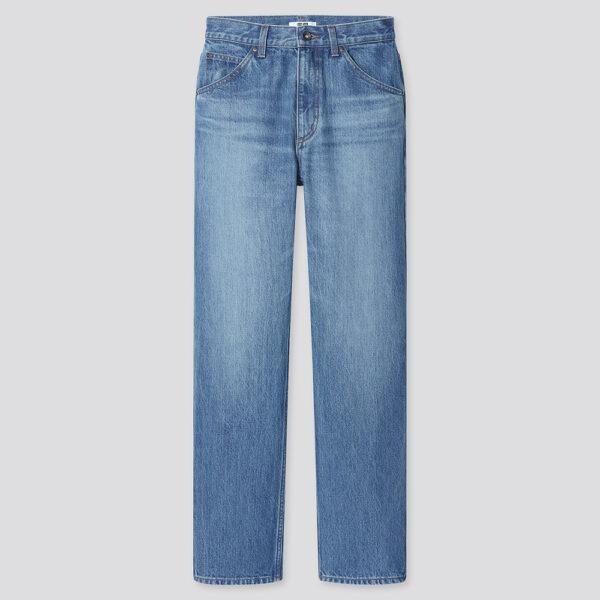 blue Uniqlo straight leg jeans