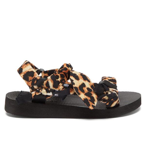 chunky trekky sandals with leopard print bandana trim arizona love