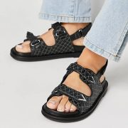 chunky quilted strap sandals