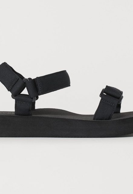 black chunky sandals flatform