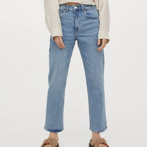 blue straight leg ankle jeans and sliders
