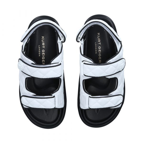 white quilted two strap chunky sandals