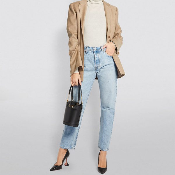 straight cropped jeans, heels, bag and blazer