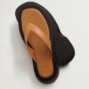 tan leather toe post platform chunky sandals