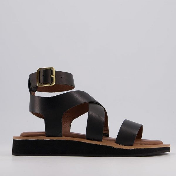 black chunky ankle strap sandals