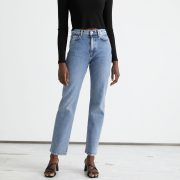 blue straight cut jeans cropped and a black tee