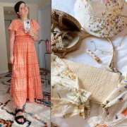 orange gingham dress and summer accessories