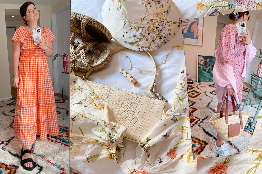 orange checked dress, floral dresses and summer accessories