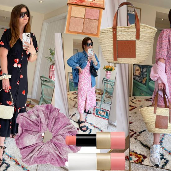Black floral dress, scrunchie, lipstick, Loewe basket and palette
