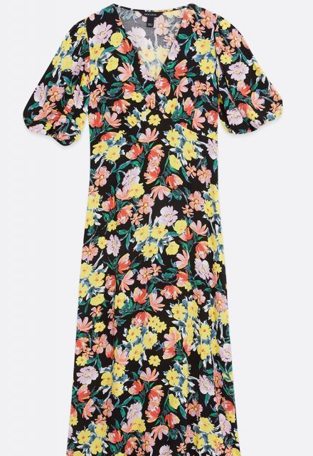black multicoloured floral dress